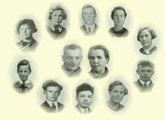 Eigen fotocomposietie van de Fam Wijnen. Midden boven Bert , Nel, Tonia, Dorus,Anna, Piet, Toon, Johan, Marie, Bertha.