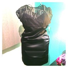 Tahari Arthur S. Levine Black Dress Never worn, new with tags. Silk pencil skirt, sheer poka-dot top. Tahari Dresses