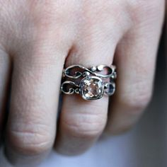 Morganite engagement ring set - swirl infinity band - sterling silver wedding ring set