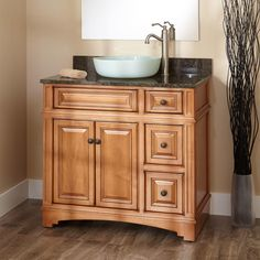 "36""+Hatcher+Oak+Vessel+Sink+Vanity"