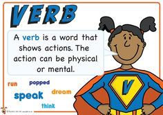 Verb. Superhero themed grammar resource for Literacy KS1 and KS2
