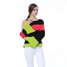 Knitbest''Irregular Stripes Sweaters Loose Flare Sleeve Knitted Tops ColorfuL Patchwork Pullovers Long Sleeve Warm Thick Sweater