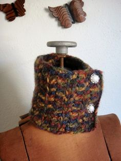 Earth Neckwarmer with Vintage Buttons
