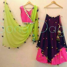 4 Piece Pink, Cobalt Blue And Parrot Green Lehenga - – Sonal & Pankaj Raw Silk Lehenga, Green Lehenga, Cape Lehenga, Lehenga Choli, Indian Dresses, Indian Outfits, Lehenga Designs, Indian Attire, Indian Wear