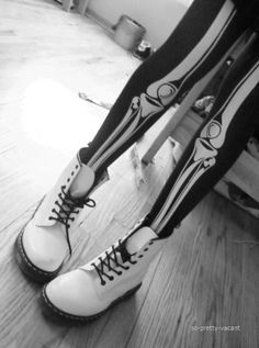 white Dr Martins!!!....dunno bought those funny stockings though