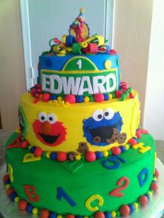 "Photo 21 of 31: Sesame Street / Birthday ""Can you tell 1yr old Edward how to get to Sesame Street?"" 