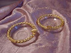 Vtg Ladies Ashtray Fleur de Lis Motif Gold tone metal glass  LOT of 2 near 3 in