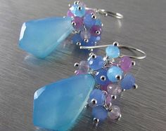 25 OFF Light Blue Chalcedony With Dyed Jade And Scorolite Sterling Silver Earrings