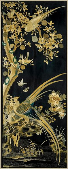 "<b>FOUR OLD CHINESE SILK EMBROIDERIES</b> <br /> Set of four, old Chinese silk embroideries; each finely detailed and depicting a different bird and floral scene, including cranes, ducks, parrots, sparrows, and pheasant; amid pine, peonies, plum blossoms, berries and magnolias; all in neutral gold and green color palette on black grounds; 43"" x 17"" (each approx.); each framed"