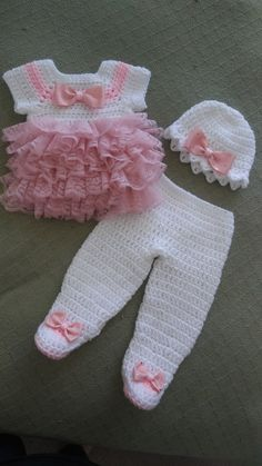 White crochet baby dress set with pink lace ruffles.fits newborn to 3 months.ready to ship White crochet baby dress set with pink lace ruffles.fits newborn to 3 months.ready to ship Crochet Baby Pants, Baby Girl Crochet, Baby Blanket Crochet, Baby Pants Pattern, Knitting Baby Girl, Pull Bebe, Baby Pullover, Pink Fabric, Baby Sweaters
