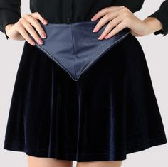 Triangle Faux Leather Velvet Skater Skirt in Navy - Bottoms - Retro, Indie and Unique Fashion Short Skirts, Mini Skirts, Led Dress, Cool Style, My Style, Unique Fashion, Fashion Brand, Skater Skirt, Vintage Inspired