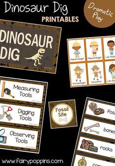Dinosaur Dig dramatic play center and printables ~ Fairy Poppins Dinosaur Theme Preschool, Dinosaur Play, Dinosaur Activities, Dinosaur Museum, Dinosaur Snacks, Kid Activites, Children Activities, Stem Activities, Dramatic Play Area