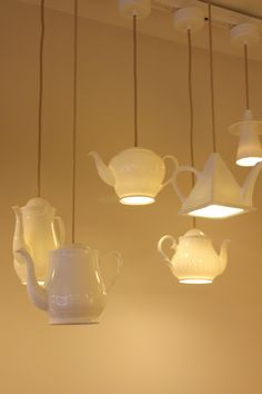 teapot lamp: beige and white porcelain lighting design | lighting . Beleuchtung . luminaires | Design: Inhabitat Blog |