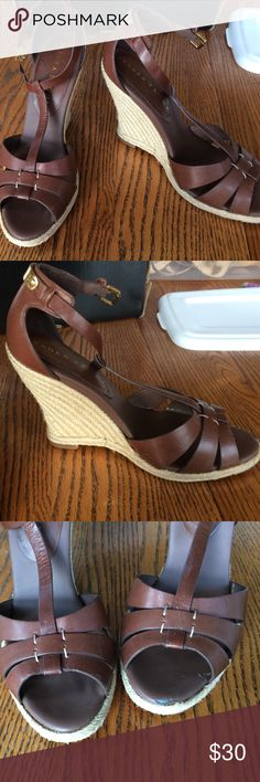 Ivanka trump wedge sandals brown size 7.5 Most comfy shoes ever. Just need to make room for some new shoes!! Wedge sandal with good height but still comfy. Could walk on them for hours. A little wear in front toe area Ivanka Trump Shoes Wedges