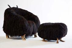 the haas brothers. beast club chair and beast foot stool, 2013 icelandic sheep, cast bronze photo by joe kramm/R & company