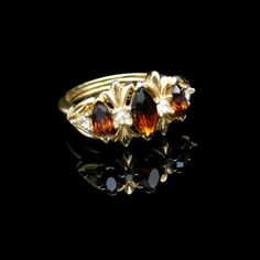 AVON Mid Century Topaz Glass Rhinestones Vintage Cocktail Ring Beautiful Sz 5-7 Adjustable #MyClassicJewelry
