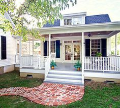 Exterior of Small Bungalow. Love the porch and upper windows/dormer. (not directly linked)