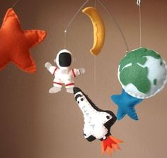 Outer Space Adventure Felt Mobile - Space Shuttle, Astronaut, Earth, Moon, Stars