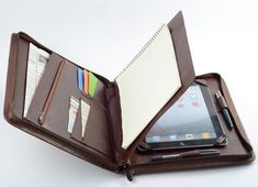 Coffee iPad mini Zipper Portfolio Case with Writing Paper Pad Holder