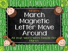 Come check out this word work product. This will give you a generous amount of word work lessons that will take you through the month of March.  Just add magnetic letters and you are set.  Also includes letter cards if you prefer.  Also available as part of a growing bundle.  So stop by Taryn's Unique Learning on TPT and check it out.