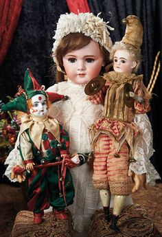 Large French Bisque Bebe Dep, Size 13, in Beautiful Antique Dress and jesters.