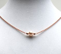 Pearl and Rose Gold Necklace Cream Rose Pearl Rose by lilicharms