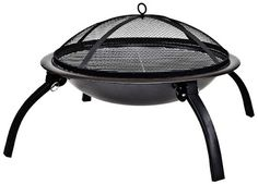 La Hacienda 58106 Camping Firebowl with Grill, Folding Legs and Carry Bag - Black Portable camping fire pit with BBQ grill, folding legs a.