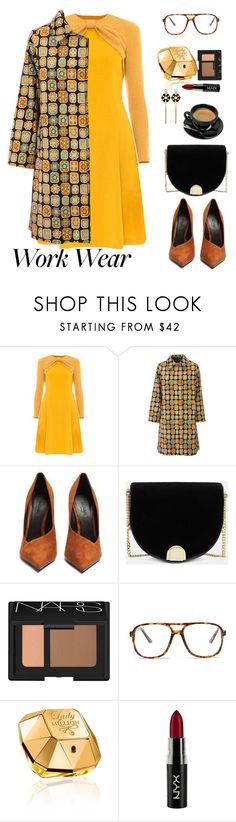 """Work Wear: Fall Dress"" by ellie366 ❤ liked on Polyvore featuring Victor Xenia, La DoubleJ, Balmain, Ted Baker, NARS Cosmetics, Forever 21, Paco Rabanne, NYX, Henri Bendel and WorkWear"