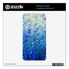 Cornflowers iPhone 4 Decals - photography gifts diy custom unique special