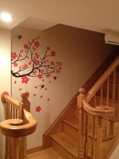 Peel N Stick Red Flower Tree Branch Instant Wall Decal Sticker Living Room Bedroom Wall Art