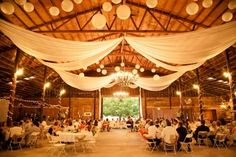 Northern California Barn Wedding - Dress up a lofty space with a mix of lanterns and draped fabric. Makes a large space feel cozy