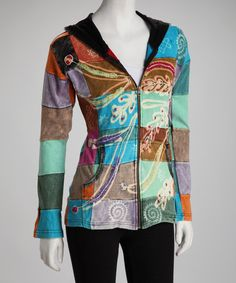 Take a look at this Green & Blue Patchwork Jacket by Rising International on #zulily today!