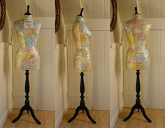 Decoupage french map dress form with city of Paris