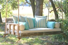 """To place an order or for more information,please call us toll free 866-610-6322.   The Noah is Brent's bed swing design named after the family's youngest. He has quickly become one of the favorite swing choices for homeowners that prefer a traditional porch swing look. The Noah hangs via beautiful runners on the front and rear of the bed swing, and looks wonderful in any of our finishes, especially the Barnwood or Vintage White.  Twin Dimensions: 89 ½""""L x 44""""W x 23""""H on the back…"""