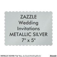 "METALLIC SILVER 7""x5"" Scalloped Wedding Invitation"