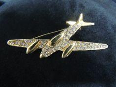 Vintage Rhinestone Brooch Pin Gold Airplane Plane Bomber Retro Pilot Airforce