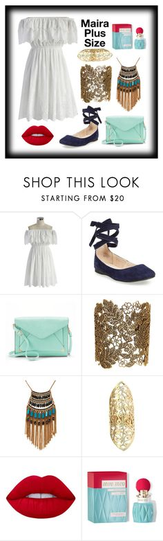 """Mairas First Date Look"" by mairaplussize ❤ liked on Polyvore featuring Chicwish, Steve Madden, Apt. 9, Stella + Ruby, Leslie Danzis, Urbiana, Lime Crime and Miu Miu"