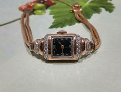 Wife anniversary idea, Rose gold, Her birthday idea, Antique 14k rose gold, Her Watch idea, 1940s Art Deco Retro Tissot diamond wrist watch