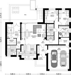 Projekt domu Willa Parterowa 2 135,75 m2 - koszt budowy - EXTRADOM House Layout Plans, House Plans One Story, Family House Plans, Best House Plans, Dream House Plans, Home Building Design, Home Design Plans, Building A House, Modern House Facades