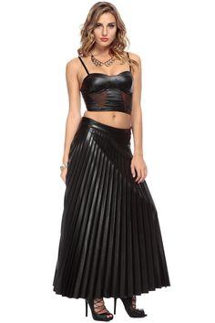 Sweet Heart Pleather Black Maxi Skirt @ Cicihot Pants Online Store: sexy pants,sexy club wear,women's leather pants, hot pants,tight pants,sweat pants,black pants,baggy pants