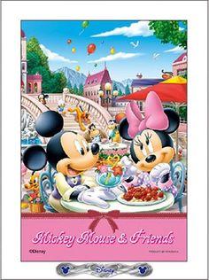 ■プチパズル99ピース:ディズニー 青空のカフェテラス(パネル付きセット)《廃番商品》 - 組絵門(くみえもん)