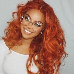 Woooo~ that hair color on fire Natural Hair Twist Out, Natural Hair Styles, Ginger Hair Color, Copper Hair, Grunge Hair, Human Hair Wigs, New Hair, Hair Inspiration, Curly Hair Styles