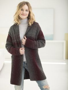 Knit Kit - Westchester Cardigan, free pattern using or 7 balls of Lion Brand Scarfie Yarn Knitting Kits, Knitting Patterns Free, Knit Patterns, Free Knitting, Free Pattern, Sweater Patterns, Knitting Needles, Knitting Ideas, Knitting Machine
