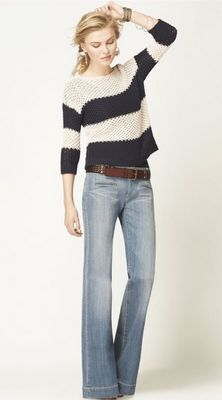 classic jeans with the right shoes and I love the wide stripes on the sweater