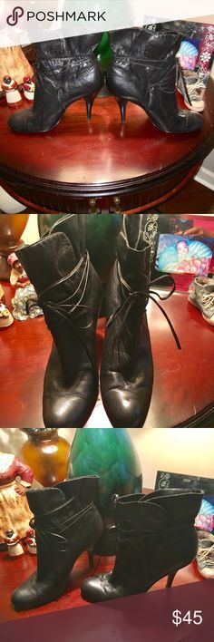 PRICE DROP $35 FREE SHORTS/CALVIN KLEIN BOOTIES CALVIN KLEIN BLACK SOFT LEATHER TIE UP BOOTIES EXCELLENT CONDITION SIZE 8 Calvin Klein Shoes Ankle Boots & Booties