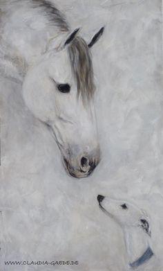 A Spanish Greyhound and a Spanish horse - artist: Claudia Gaede  www.claudia-gaede.de