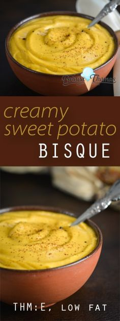 This Creamy Sweet Potato Bisque is quick and easy and doesn't use any special ingredients!  THM:E, low fat, gluten/egg/nut free