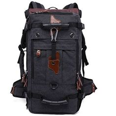 GINGOOD Canvas BackpackTravel Hiking Camping Rucksack Deffel Bag Big Capacity 804 Black ** Check out the image by visiting the link.