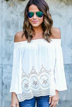 Show off your chic style in this gorgeous Everly White Off The Shoulder Top! Features an elastic top off the shoulder top