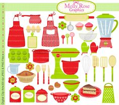 Digital Clip Art christmas cooking, baking clip art,bake,cooking utensils clip art
